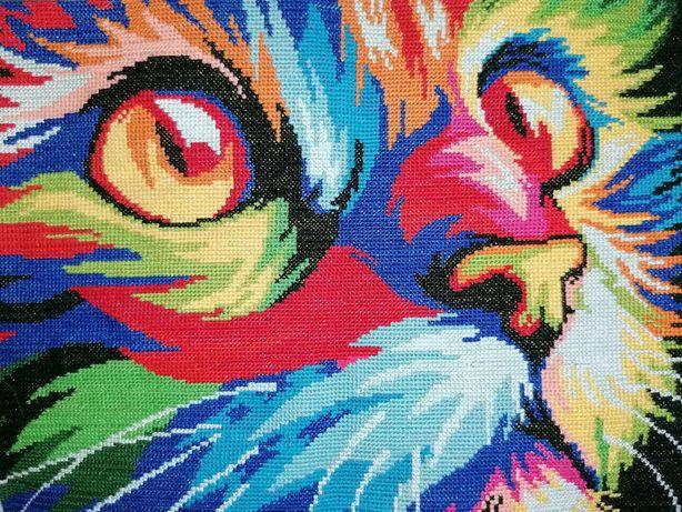 Tela bordada em ponto cruz gato colorido Cross Stitch cat color