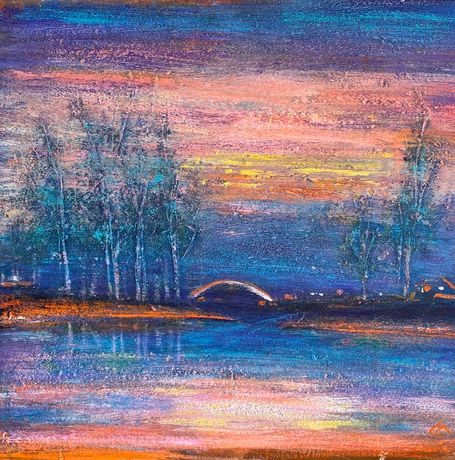 Картина рассвет река 60Х60, акрил