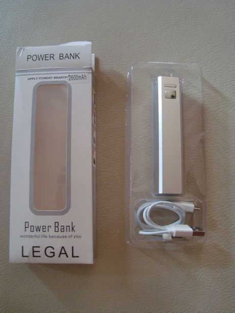 Power Bank - z kabelkiem, kolor srebrny nowy
