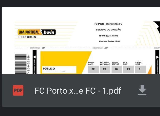 Bilhete Fc Porto x Moreirense