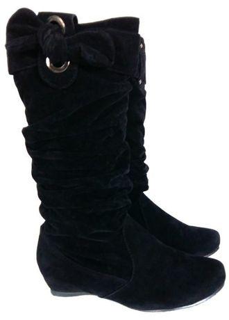 Damskie kozaki buty botki saszki zamszowe czarne 37 36 klin