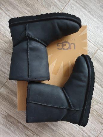 Ugg leather oryginalne czarne botki śniegowce skóra 40