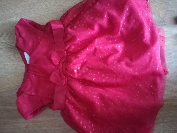 Czerwona sukienka z tiulem 62 cm