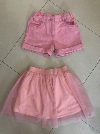 Spodenki rozowe szorty 128 spodniczka