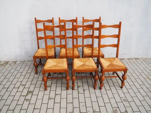 Masywny komplet 6 krzeseł dębowych 972
