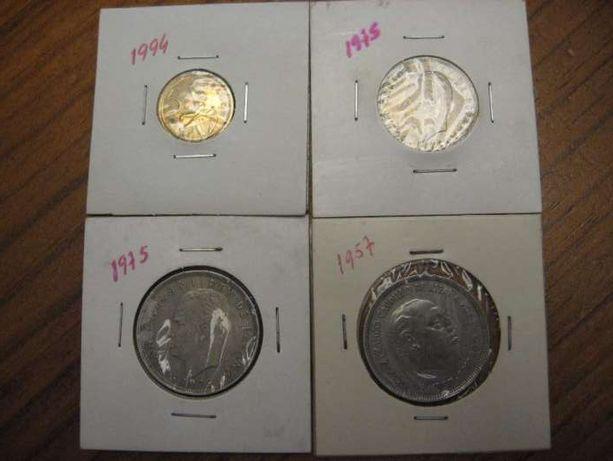 Lote 4 Moedas de Pesetas / Espanha 1957,1975 e 1994