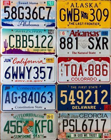 Автомобильные номерные знаки всех 50 штатов США авто номера USA