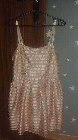 Sukienka złota beżowa bohoo koronkowa z siateczką H&M 36 / S