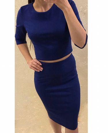 Жіночий костюм (плаття) замшевий топ+спідниця /Женский костюм топ+юбка