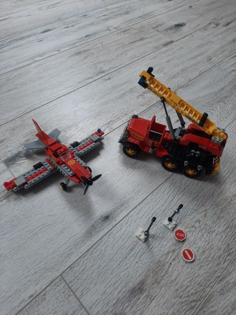 Klocki Cobi samolot i wóz strażacki