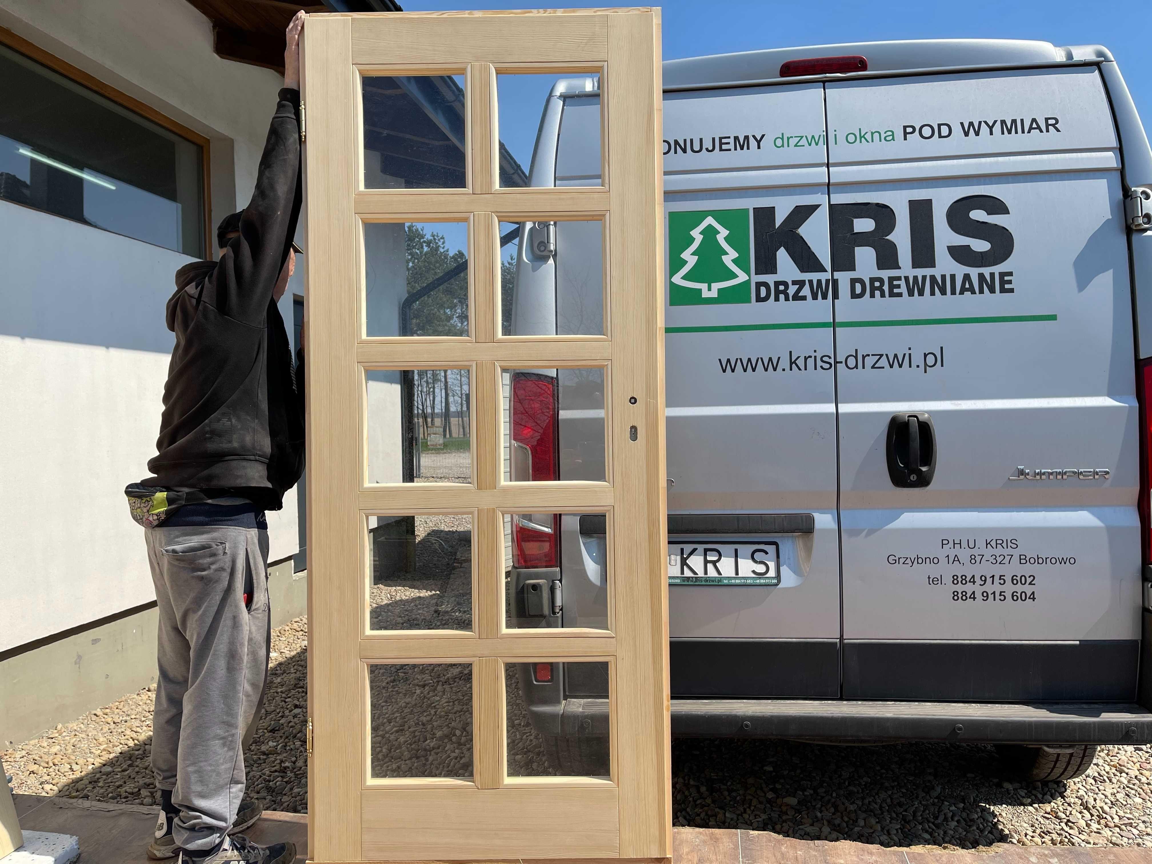 Drzwi zewnętrzne sosnowe drewniane z szybą i oscieżnicą CAŁA POLSKA