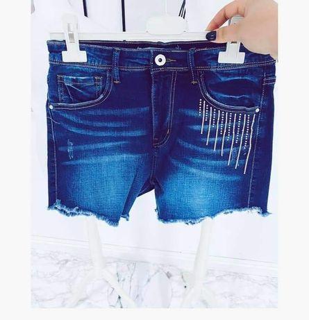 Jeansowe spodenki szorty elastyczne xs