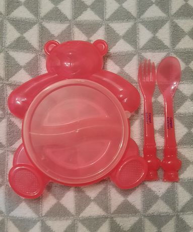 Детский набор посуды приборов Canpol Babies тарелка ложка вилка