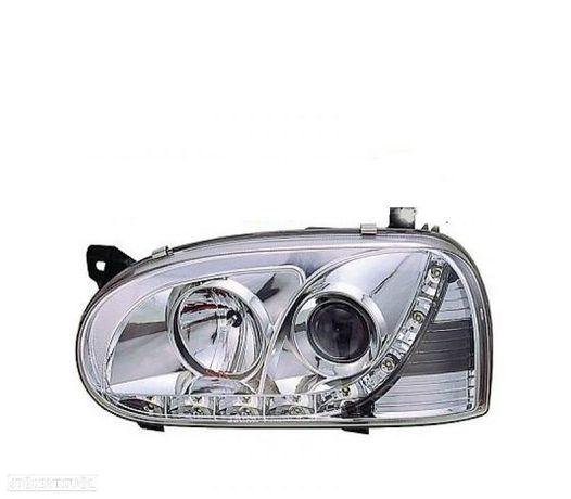FARÓIS COM LUZ DIURNA LED / VW GOLF 3 MKIII 91-97 FUNDO CROMADO