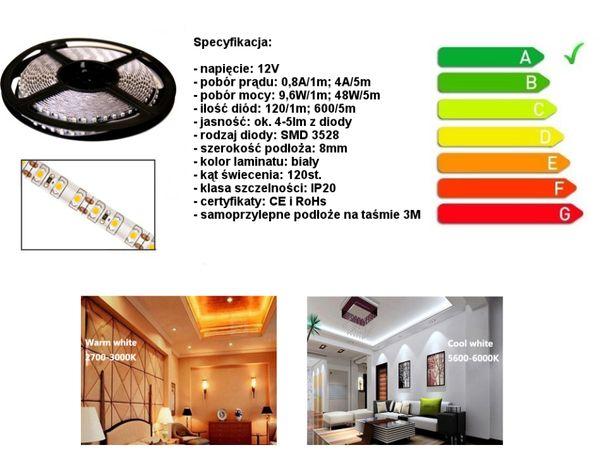 Wydajna Solidna Taśma LED 600 SMD 3528 /5 Metrów *FV
