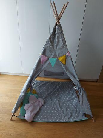 TIPI namiot wigwam XL dla dzieci, mata, 3 poduszki