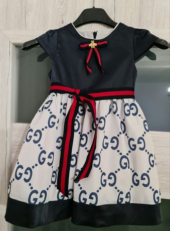GUCCI śliczna sukienka 2 - 3 lata 92 98 broszka - ważka