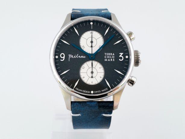 Мужские новые часы Terra Cielo Mare Milano Crono Panda Dial 44 мм