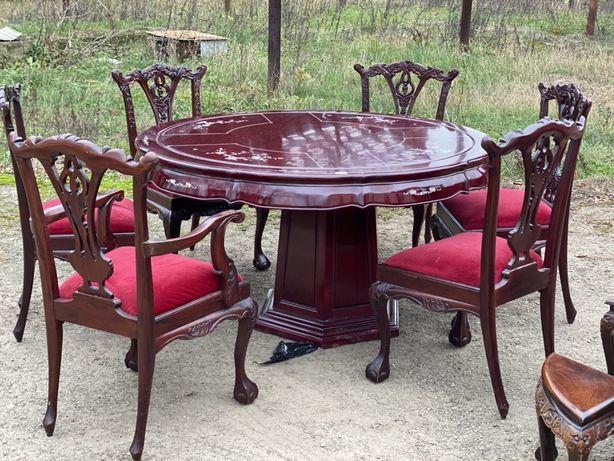 Стіл з  дерева і 6 крісел стільці  Стол из красного дерева и 6 кресел