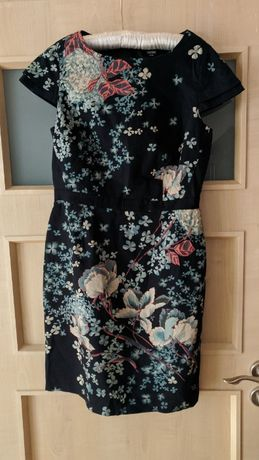 Elegancka sukienka print w kwiaty kobieca 38 Azja