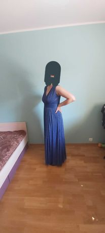Sukienka długa, niebieska na wesele