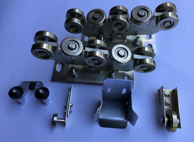 Wózek 8 rolek do bramy przesuwnej 80x80 łapacz rolka najazd