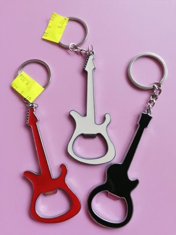 NOWY brelok 2w1 otwieracz do butelek gitara wys. 9cm metal 3 rodzaje