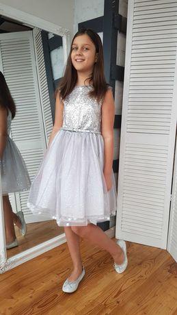 Серебристое нарядное платье на 9-10-11 лет TU