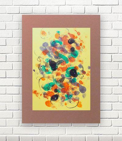 żółta abstrakcja, brązowo żółty obraz, nowoczesna grafika do loftu a3