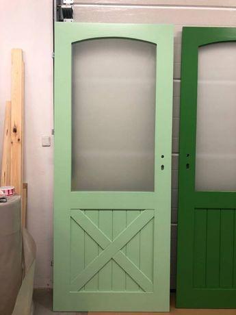 Drzwi sosnowe drewniane MIĘTOWE frezowane od ręki 88X205
