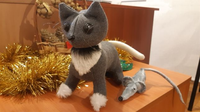 Котенок в корзинке, кот, котик, подарок, игрушка ручной работы