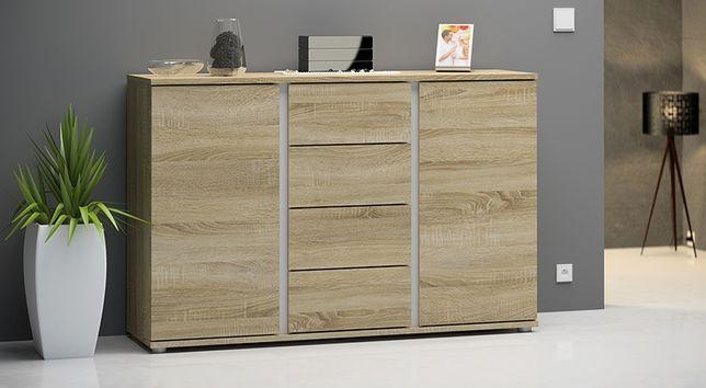Komoda salonowa szafka półka regał dąb sonoma biały styl skandynawski