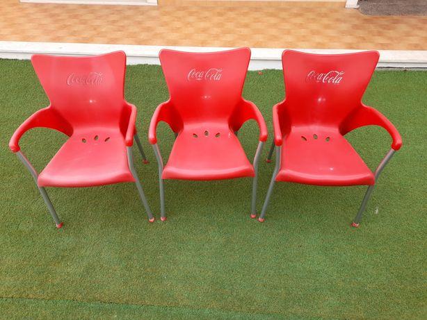3 cadeiras de esplanada Coca Cola impecaveis 30€ as 3