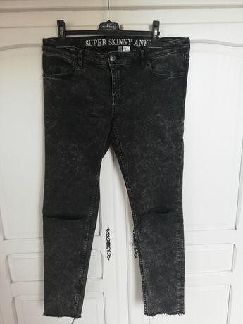 Jeansy H&M sprany czarny dziury 42