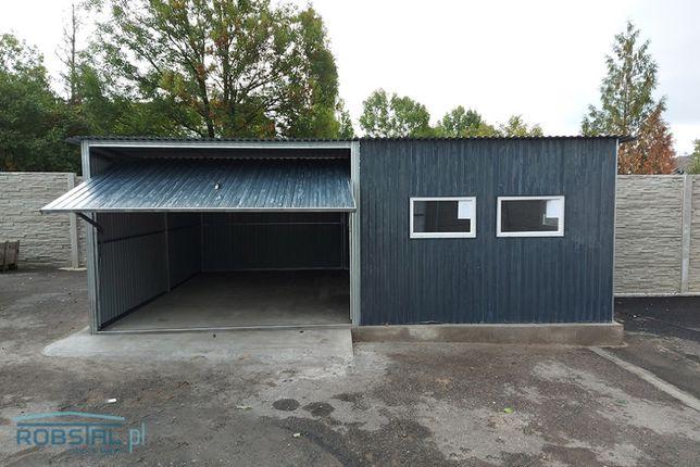 Garaż blaszany grafitowy blaszak 6x5 garaże z bramą uchylną