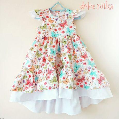 Нарядное праздничное летнее хлопковое платье Фемилилук детское девочке