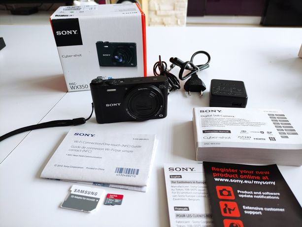 Aparat Sony Cyber-shot DSC-WX350 + karta pamięci + pokrowiec