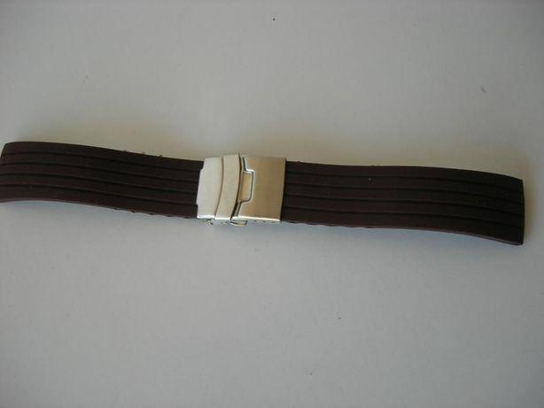 Bracelete Borracha Castanha 22mm Fecho Báscula
