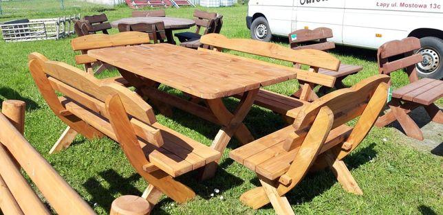 Komplet ogrodowy drewniany gruba deska