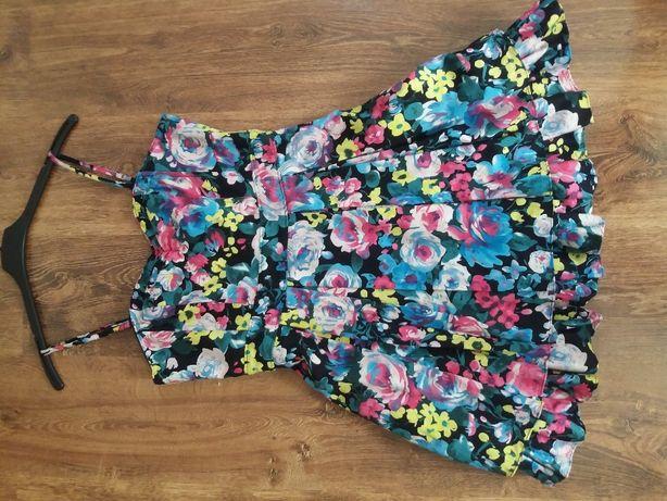 Śliczna sukienka H&M w kwiaty dół tiulowy r. 38 40 m l wesele chrzciny