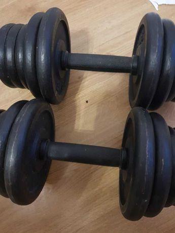 Hantle żeliwne 2x 20kg mało używane (40kg) regulowane