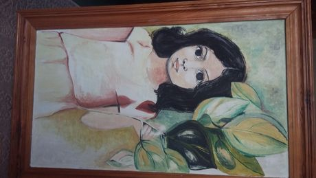 obraz olejny w drewnianej ramie