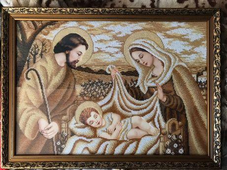 """Картина икона вышита бисером """"Иисус в колыбели"""" 62/45 см"""