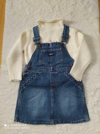 Zestaw dziewczęcy Spódniczka ogrodniczka + sweterek rozmiar 104