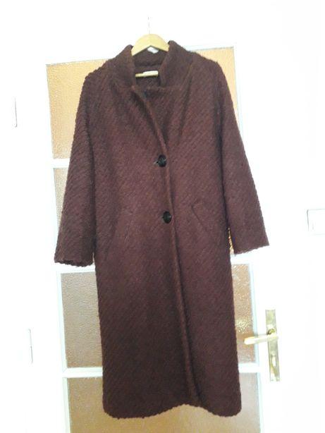 Płaszcz zimowy wełna 100% r.38/40 luksusowy pudełkowy modny brąz