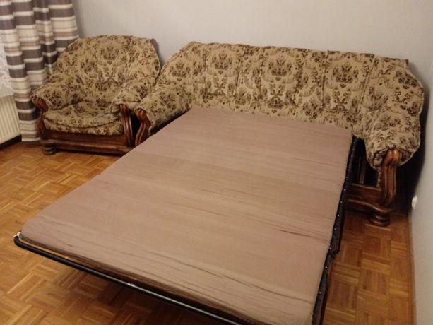 Komplet wypocz. 3+1 sofa/kanapa + fotel lite drewno z funkcją spania