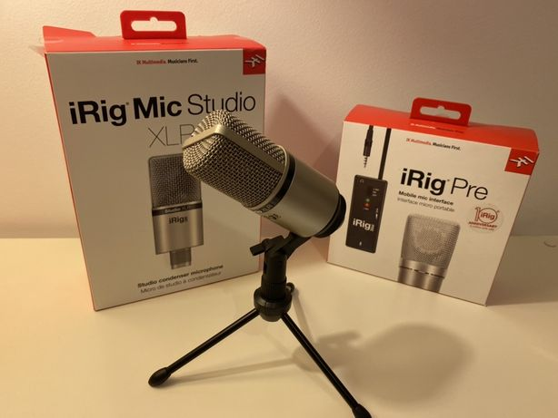 IK Multimedia Microfone XLR iRig Mic Studio + interface 3.5mm iRig Pre