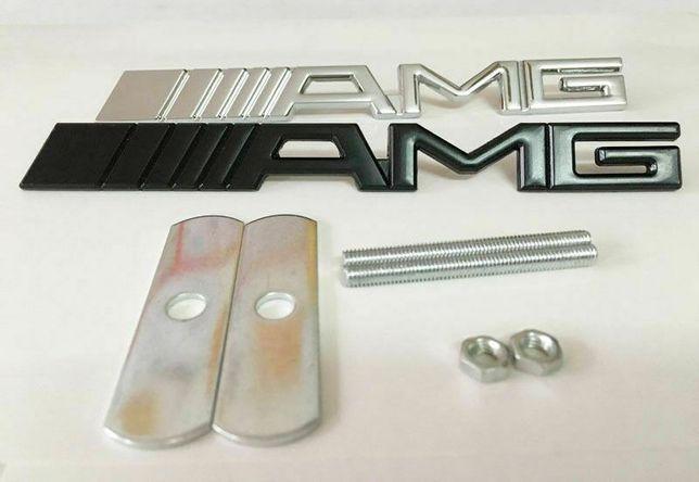 NOWY emblemat znaczek AMG na przedni grill Mercedes Benz logo METAL