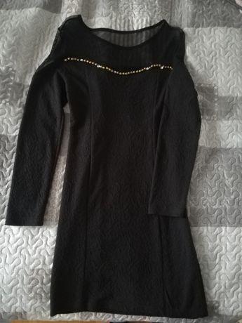 czarna elegancka sukienka mini siateczka zdobienia jesienna S