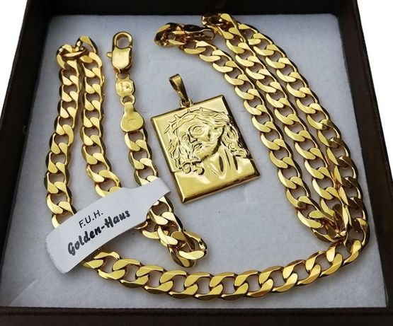 Łańcuszek pancerka 50/60 cm 5,5 mm + medalik Jezus 24K ZŁOTO prezent